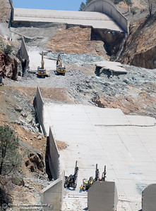 What remains of the lower part of the spillway is seen as construction continues on the Lake Oroville Dam Spillway Wednesday May 24, 2017.  (Bill Husa -- Enterprise-Record)