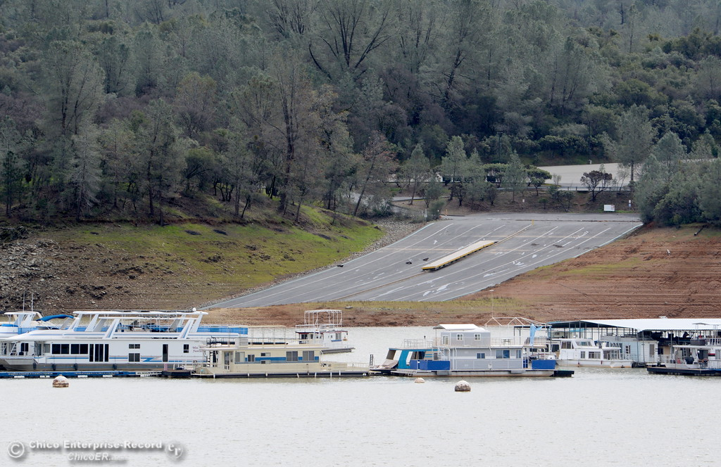 . The Loafer Creek boat ramp is seen from the old Bidwell Bar Bridge as work at the Oroville Dam, Oroville Spillway continues Tuesday Feb. 21, 2017. Bidwell Canyon Marina remains closed to the public Tuesday.  (Bill Husa -- Enterprise-Record)