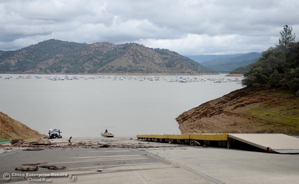 . The boat ramp at Bidwell Canyon Marina remains closed as work at the Oroville Dam, Oroville Spillway continues Tuesday Feb. 21, 2017. (Bill Husa -- Enterprise-Record)