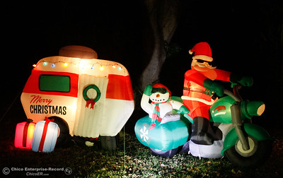 Santa Clause is coming to town on a motorcycle and is towing his gifts in a RV in this cool display at the Davis family house December 6, 2016 in Palermo, California. (Emily Bertolino -- Mercury Register)