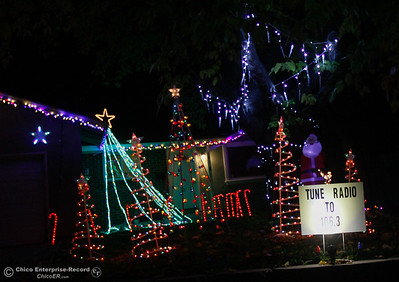 Driving by this light display on Regent Loop make sure to tune into to the radio station, the lights dance to the music helping to further spread holiday cheer December 6, 2016 in Oroville, California. (Emily Bertolino -- Mercury Register)