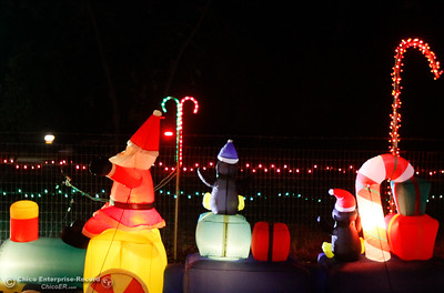 Christmas lights and decorations adorn this home, one of the many houses on the annual Oroville Tour of Lights December 7, 2016 in Oroville, California. (Emily Bertolino -- Mercury Register)