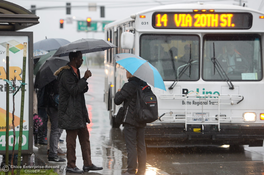 . B-Line bus riders hunker beneath umbrellas as they wait in the rain along Park Ave. in Chico, Calif. Friday Feb. 17, 2017. (Bill Husa -- Enterprise-Record)