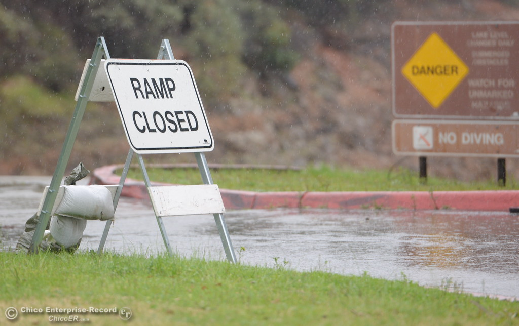 . The Bidwell Canyon Marina boat ramp is closed Friday as the Lake Oroville Dam Spillway emergency continues in Oroville, Calif. Frid. Feb. 17, 2017. (Bill Husa -- Enterprise-Record)