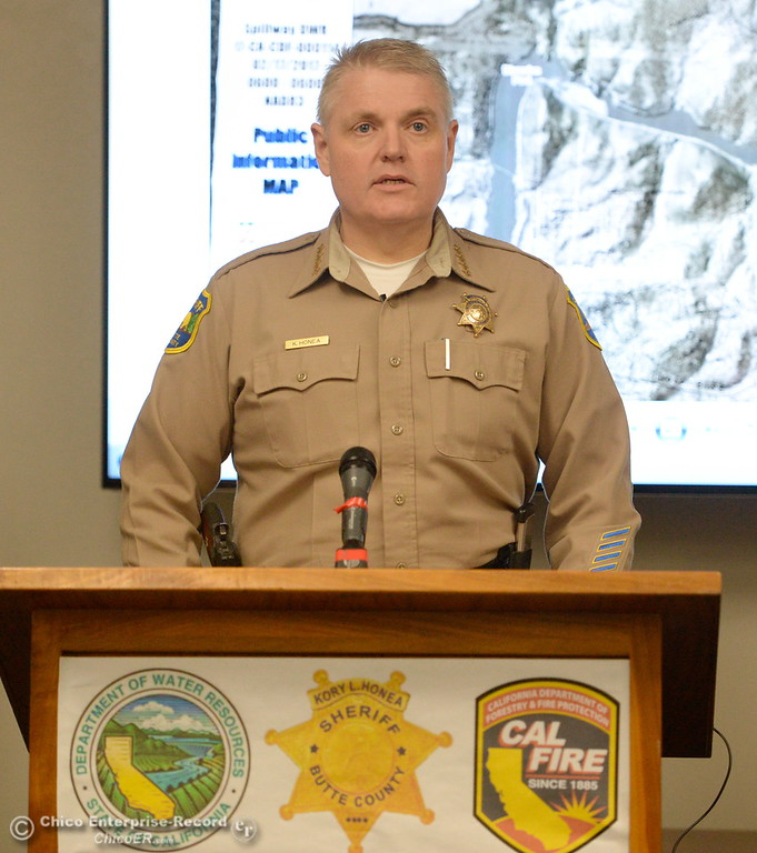 . Butte County Sheriff Kory Honea talks with the media during a press conference as the Lake Oroville Dam Spillway emergency continues in Oroville, Calif. Frid. Feb. 17, 2017. (Bill Husa -- Enterprise-Record)
