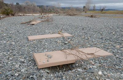 Table tops sit about even with the rocks along the bank of the Feather River seen at Riverbend Park during a tour of the damaged areas within the park Monday March 6, 2017.  (Bill Husa -- Enterprise-Record)