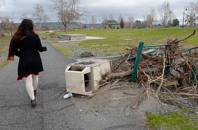Feather River Recreation and Park District General Manager Apryl Ramage points out damage at Riverbend Park during a tour of the damaged areas within the park Monday March 6, 2017.  (Bill Husa -- Enterprise-Record)