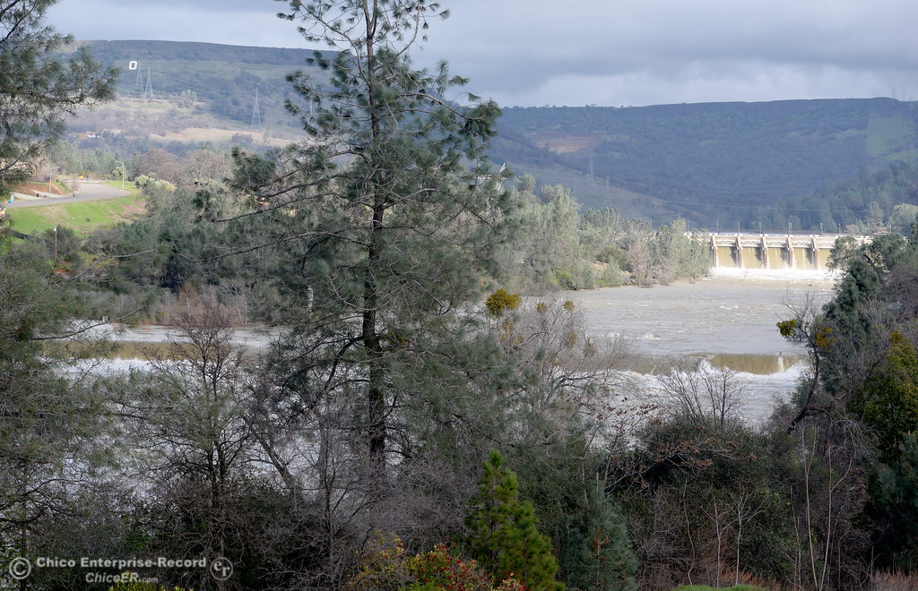 . The Feather River continues to flow high downstream from the Diversion Dam as the Lake Oroville Dam Spillway emergency continues in Oroville, Calif. Thurs. Feb. 16, 2017. (Bill Husa -- Enterprise-Record)