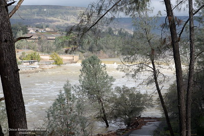 The Feather River continues to flow high near the Feather River Nature Center across from the fish hatchery as the Lake Oroville Dam Spillway emergency continues in Oroville, Calif. Thurs. Feb. 16, 2017. (Bill Husa -- Enterprise-Record)