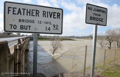 The Feather River continues to flow high as the Lake Oroville Dam Spillway emergency continues in Oroville, Calif. Thurs. Feb. 16, 2017. (Bill Husa -- Enterprise-Record)