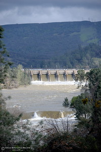 The Feather River continues to flow high downstream from the Diversion Dam as the Lake Oroville Dam Spillway emergency continues in Oroville, Calif. Thurs. Feb. 16, 2017. (Bill Husa -- Enterprise-Record)