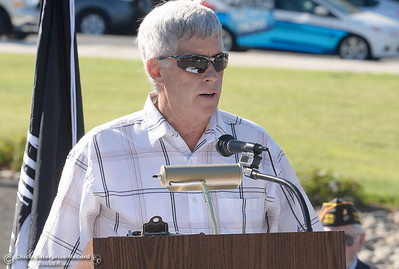 Don Noble speaks during the Oroville Veterans Memorial Park opening ceremony Friday July 28, 2017. (Bill Husa -- Enterprise-Record)