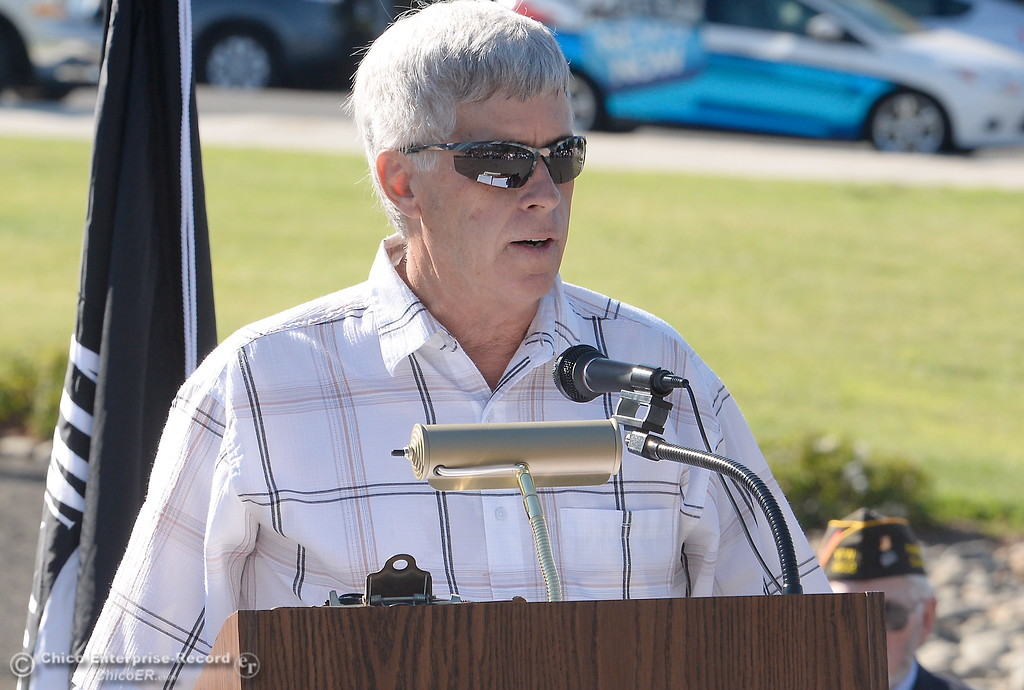 . Don Noble speaks during the Oroville Veterans Memorial Park opening ceremony Friday July 28, 2017. (Bill Husa -- Enterprise-Record)