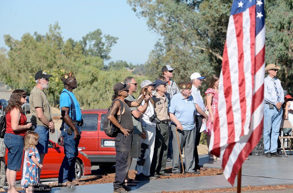 . Veterans stand with others during the Oroville Veterans Memorial Park opening ceremony Friday July 28, 2017. (Bill Husa -- Enterprise-Record)