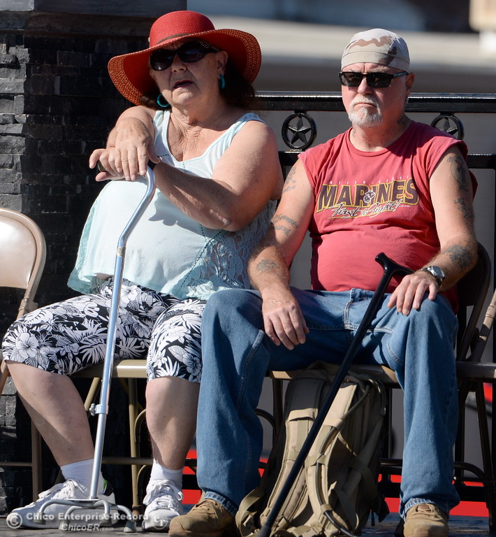 . Veteran Robert King at right sits with his wife Patti King during the Oroville Veterans Memorial Park opening ceremony Friday July 28, 2017. (Bill Husa -- Enterprise-Record)