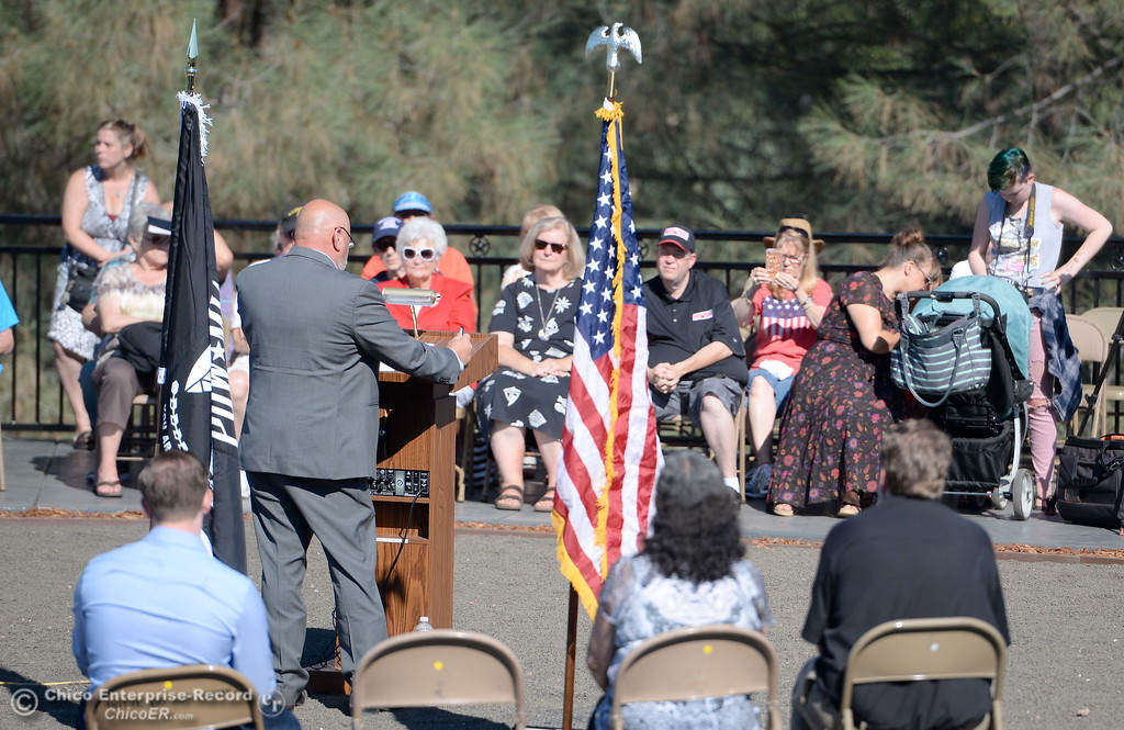 . Bill Connelly, Butte County Supervisor Chair speaks during the Oroville Veterans Memorial Park opening ceremony Friday July 28, 2017. (Bill Husa -- Enterprise-Record)
