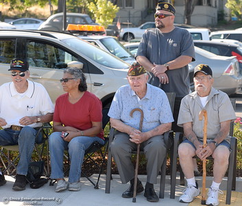 Veterans gather during the Oroville Veterans Memorial Park opening ceremony Friday July 28, 2017. (Bill Husa -- Enterprise-Record)