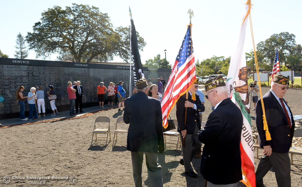 . The Color Guard prepares to retire the colors during the Oroville Veterans Memorial Park opening ceremony Friday July 28, 2017. (Bill Husa -- Enterprise-Record)