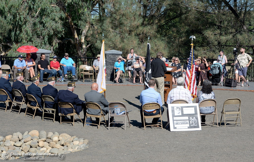 . People gather during the Oroville Veterans Memorial Park opening ceremony Friday July 28, 2017. (Bill Husa -- Enterprise-Record)