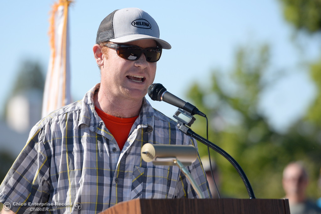 . Contractor Bryan Henderson speaks during the Oroville Veterans Memorial Park opening ceremony Friday July 28, 2017. (Bill Husa -- Enterprise-Record)