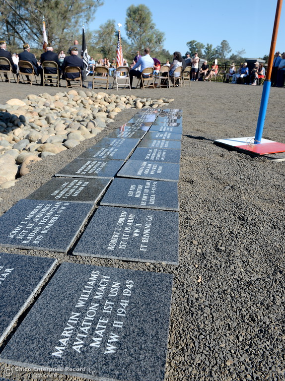 . Plaques yet to be mounted are seen near a flag during the Oroville Veterans Memorial Park opening ceremony Friday July 28, 2017. (Bill Husa -- Enterprise-Record)