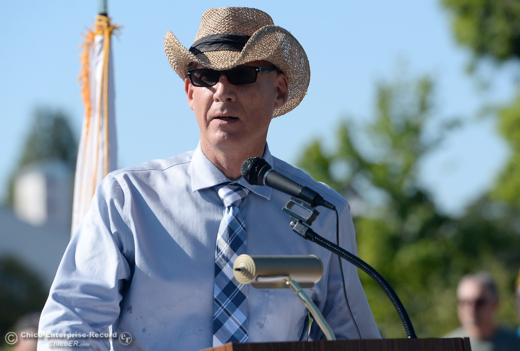 . speaks during the Oroville Veterans Memorial Park opening ceremony Friday July 28, 2017. (Bill Husa -- Enterprise-Record)