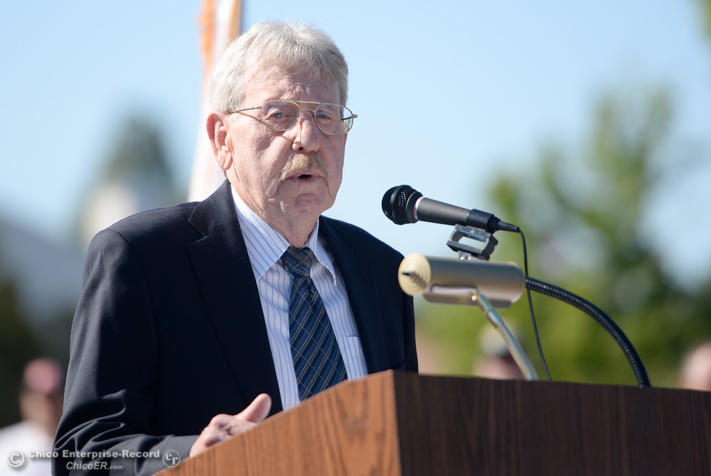 . Jack Berry speaks during the Oroville Veterans Memorial Park opening ceremony Friday July 28, 2017. (Bill Husa -- Enterprise-Record)