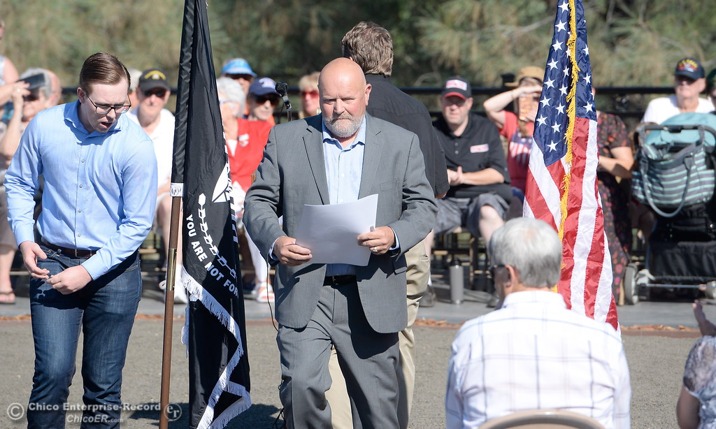 . Chair of Butte County Board of Supervisors Bill Connelly during the Oroville Veterans Memorial Park opening ceremony Friday July 28, 2017. (Bill Husa -- Enterprise-Record)