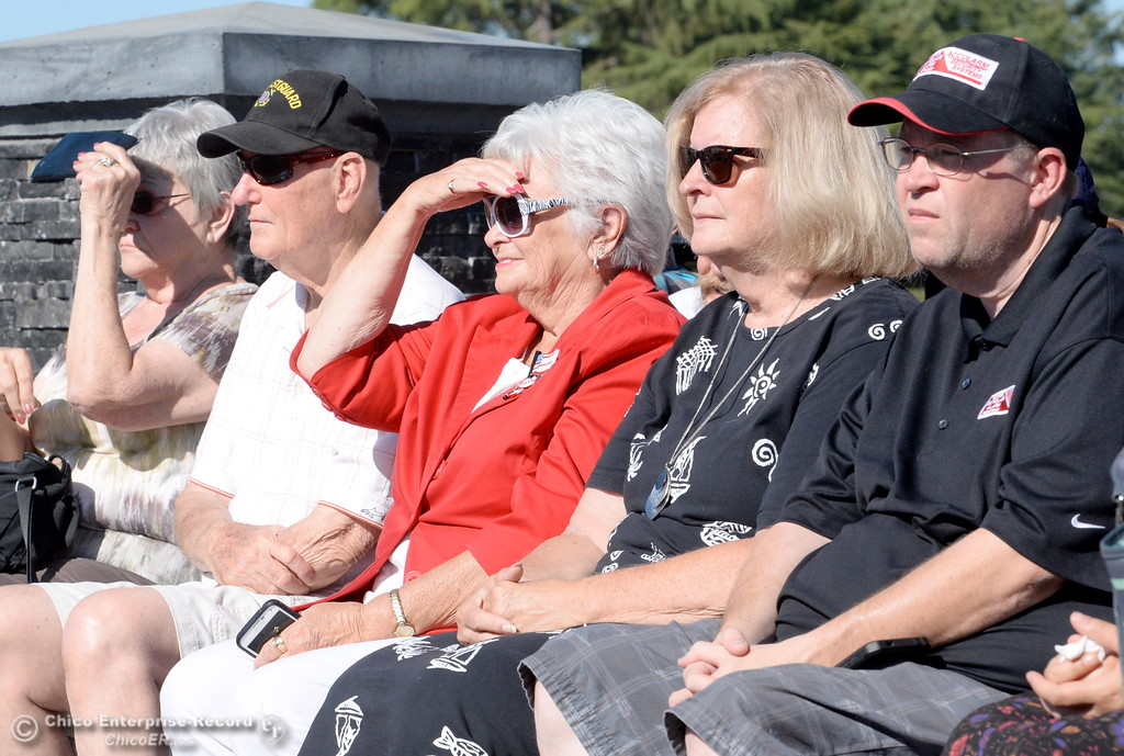 . Veterans gather during the Oroville Veterans Memorial Park opening ceremony Friday July 28, 2017. (Bill Husa -- Enterprise-Record)