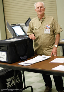 Donald Pederson helps work the polls at the Southside Community Center November 8, 2016 in Oroville, California. (Emily Bertolino -- Mercury Register)