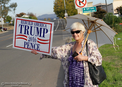 Renee Good and three others wave a Trump/ Pence signs along Grand Avenue November 8, 2016 in Oroville, California. (Emily Bertolino -- Mercury Register)