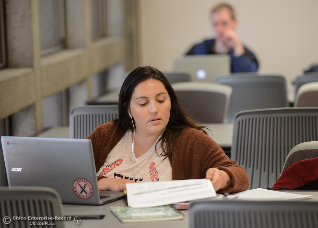 . Maddy Pach studies for her graduate school comprehensive exam Thursday January 11, 2018 at CSU Chico in Chico, California. (Emily Bertolino -- Enterprise-Record)
