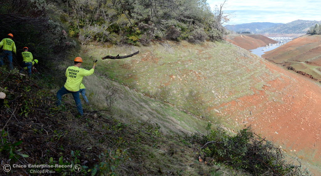 . Members of a Butte County Sheriff\'s work crew are seen near the Bidwell Canyon Trail at the Saddle Dam Day use facility as they work on a Fire Safe Council fuel reduction project below Kelly Ridge Road in Oroville, Calif. Jan. 11, 2018.  (Bill Husa -- Enterprise-Record)