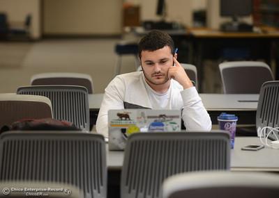 Landon Akhtar works on his strategic management homework Thursday January 11, 2018 at CSU Chico in Chico, California. (Emily Bertolino -- Enterprise-Record)