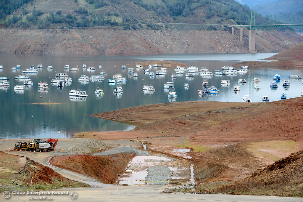 . A view down the main launch ramp shows the current level of the water in Lake Oroville in Oroville, Calif. Jan. 11, 2018.  (Bill Husa -- Enterprise-Record)
