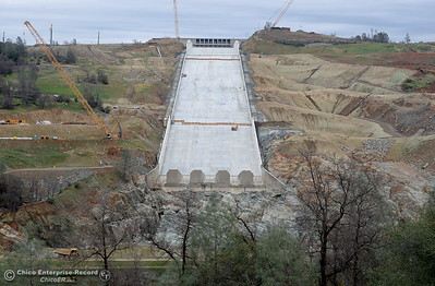Construction continues at the Lake Oroville Dam controlled spillway in Oroville, Calif. Jan. 11, 2018.  (Bill Husa -- Enterprise-Record)