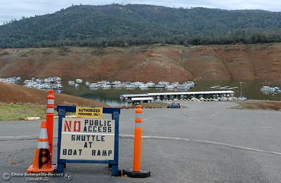 A sign says there is no public access to the Bidwell Canyon Marina in Oroville, Calif. Jan. 11, 2018.  (Bill Husa -- Enterprise-Record)