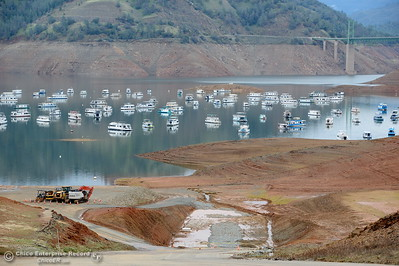 A view down the main launch ramp shows the current level of the water in Lake Oroville in Oroville, Calif. Jan. 11, 2018.  (Bill Husa -- Enterprise-Record)