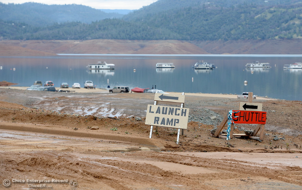 . A sign points the way to the open launch facility at Bidwell Canyon Marina at Lake Oroville in Oroville, Calif. Jan. 11, 2018.  (Bill Husa -- Enterprise-Record)