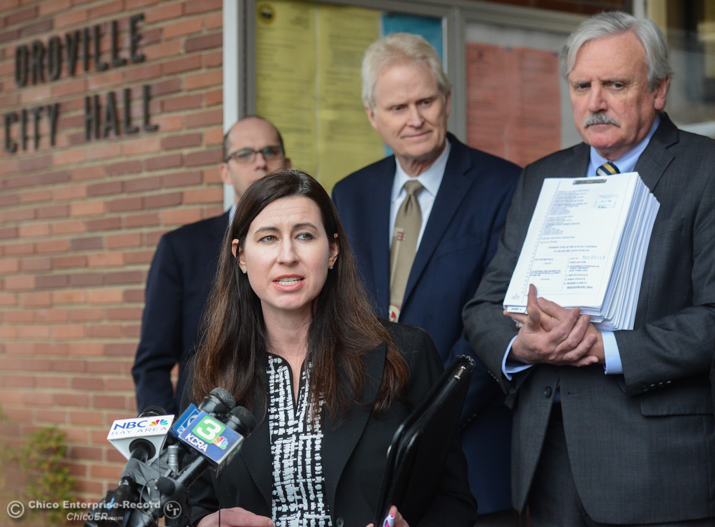 . Attorney Carolyn Frank speaks as the city of Oroville files a lawsuit today against the state Department of Water Resources for the Oroville Dam crisis Wednesday January 17, 2018 at Oroville City Hall in Oroville, California. (Emily Bertolino -- Enterprise-Record)