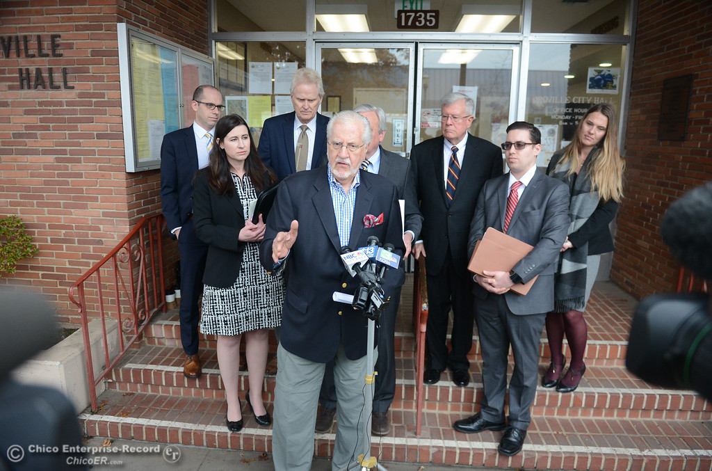 . Joseph Cotchett of Cotchett, Pitre and McCarthy, LLP  speaks as the city of Oroville filed a lawsuit today against the state Department of Water Resources for the Oroville Dam crisis Wednesday January 17, 2018 at Oroville City Hall in Oroville, California. (Emily Bertolino -- Enterprise-Record)
