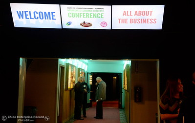 People chat in the hallway during the North State Economic Forecast Conference at Gold Country Casino in Oroville, Calif. Thurs. Jan. 18, 2018. (Bill Husa -- Enterprise-Record)