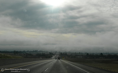 Low clouds and fog hover over Highway 70 looking toward Oroville, Calif. Mon. Jan. 15, 2018. (Bill Husa -- Enterprise-Record)