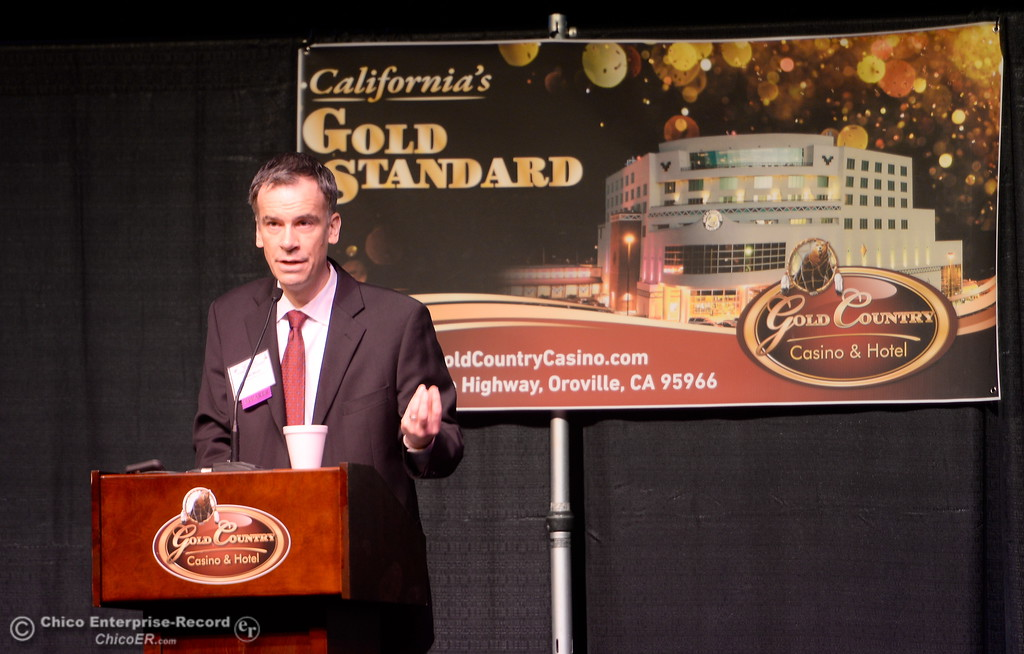 . Todd Mirell of Union Bank talks about real estate during the North State Economic Forecast Conference at Gold Country Casino in Oroville, Calif. Thurs. Jan. 18, 2018. (Bill Husa -- Enterprise-Record)