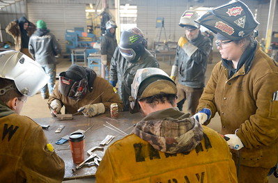 Students practice welding during the 2017 ARC Welding exposure class at Butte College Wed. Jan. 18, 2017.  (Bill Husa -- Enterprise-Record)