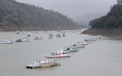 Water levels in Lake Oroville continue to rise seen here near Lime Saddle Marina Wed. Jan. 18, 2017.  (Bill Husa -- Enterprise-Record)