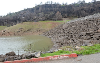 A large culvert pipe that feeds into the lake at the Nelson Bar Day Use faciltiy is now under water at Lake Oroville Wed. Jan. 18, 2017.  (Bill Husa -- Enterprise-Record)