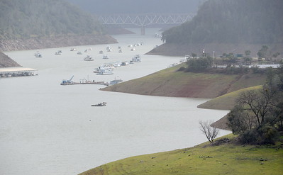 Water levels in Lake Oroville continue to rise seen here looking toward Lime Saddle Marina Wed. Jan. 18, 2017.  (Bill Husa -- Enterprise-Record)