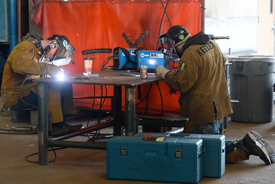 Dallas Gray of Chico left and Randall Keeler of Chico practice welding on stainless steel during the 2017 ARC Welding exposure class at Butte College Wed. Jan. 18, 2017.  (Bill Husa -- Enterprise-Record)