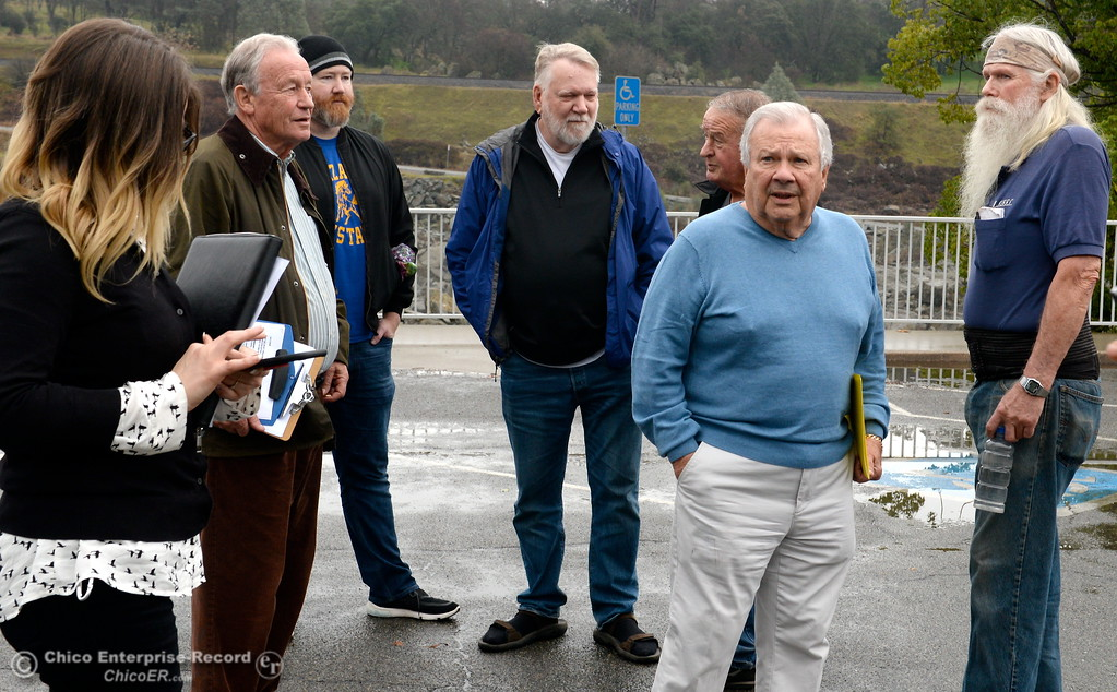 ". A group of local activists gather in the parking lot near the Feather River Fish Hatchery Fish Barrier Dam to anounce a petition called ""Hold DWR Accountable\"" in Oroville, Calif. Friday Jan. 5, 2018.  (Bill Husa -- Enterprise-Record)"